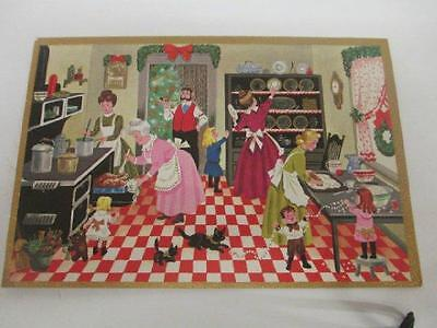 Vtg Christmas Greeting Card - Country Kitchen Family Gold Accents WHITE Original