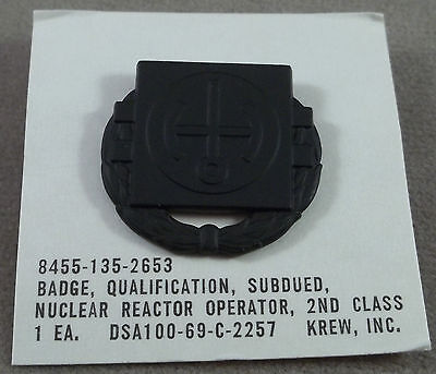 US Army Subdued Nuclear Reactor Operator 2nd Class Badge NOS 1969 KREW GI