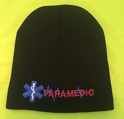 NEW Embroidered PARAMEDIC EMS Medical Star Of Life Black Knit Beanie Cap Hat