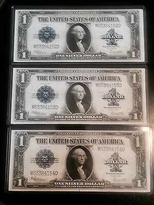 3 Consecutive 1923 $1 One Dollar Silver Certificate Notes UNCIRCULATED Rare UNC