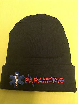 NEW Embroidered PARAMEDIC EMS Medical Star Of Life Black Stocking Cap Hat