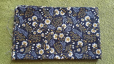 CLEARANCE 100% Cotton Remnant  fabric 110cm x 22.5cm floral navy fabric cut *
