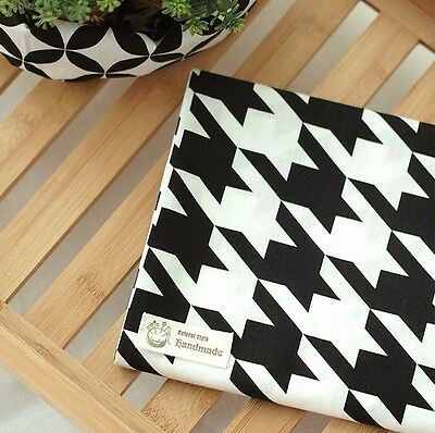 Houndstooth 100% Cotton Remnant  fabric 147 x 22.5cm fabric off cut bl*