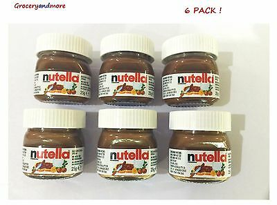 NUTELLA MINI 25g x 6 Pk Glass Jar Ferrero Hazelnut Chocolate Cocoa Cute Limited