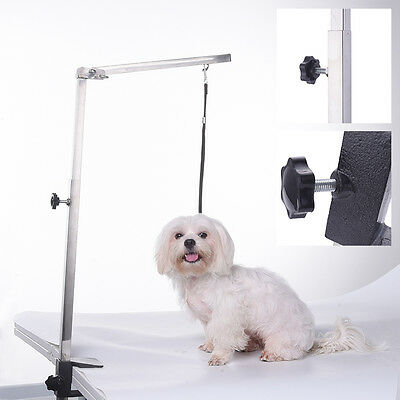 Foldable Stainless Steel Dog Cat Pet Adjustable Grooming Table Arm Clamp Harness