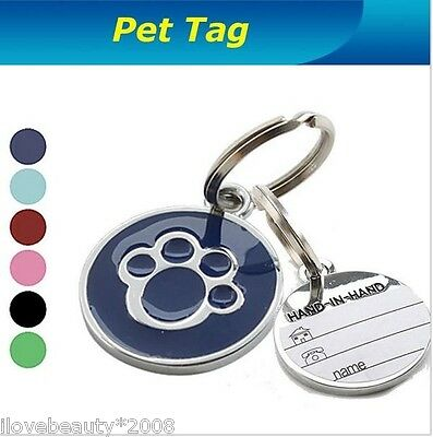 Metal Paw Pet Tag With Personalised Back-Engraving for Dog Cat Pets New