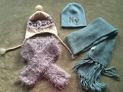 Lot of 4 Girls hat and scarf  - one size