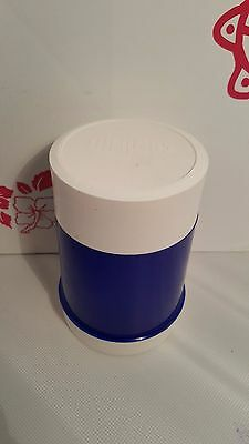 Vintage Mid Century 60's Stopper Cup Food Jar Blue WhiteThermos 10 Oz EUC