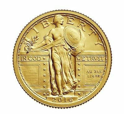 2016~W ~ 100th ANNIVERSARY ~ STANDING LIBERTY QUARTER ~ 9999 PURE GOLD ~ $588.88