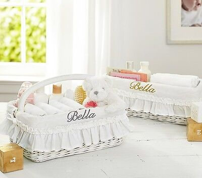 NWT Pottery Barn Kids White changing table basket with ruffle liner white