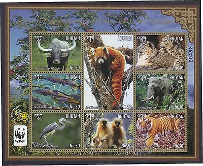 Bhutan 2015 Wwf (Animals) Sheetlet Of 8 Stamps In Mint Mnh Unused Condition