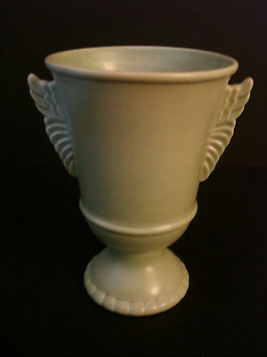 Red Wing # 1090 Matte Mint Green Winged Trophy Vase