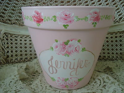 "Gorgeous Shabby Handpainted ""jennifer"" Pink Roses Large Flowerpot ***so Pretty**"