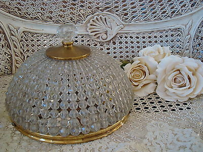 Spectacular Large Vintage Beaded Dome Ceiling Fixture Light