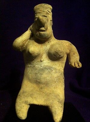 Pre Columbian Jalisco Sitting Large-Bosomed Pregnant Female Figure, 300BC-300AD