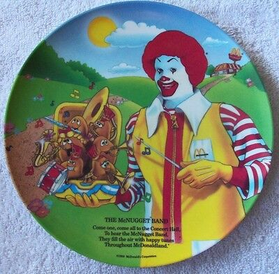 """New 1989 Ronald McDonald 9 1/2"""" (The McNugget Band) Plastic Collector plate"""
