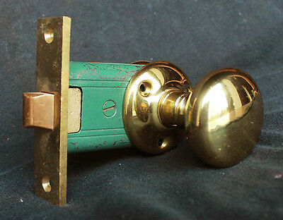 Antique Arts & Crafts Bronze Interior Door Passage Set Knob Doorknob Plate Lock