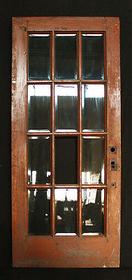 "36""x 83""x 2.25"" Antique Interior Exterior French Walnut Door Beveled Glass Lites"