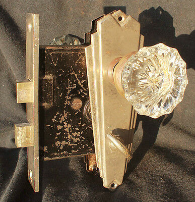 Restored Antique Art Deco Chrome Door Set Glass Knob Plate Privacy Lock Lockset