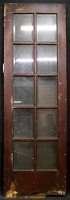 "2avail 27x83"" Antique French Solid Wood Swinging Door 10 Beveled Glass Lite Pane"