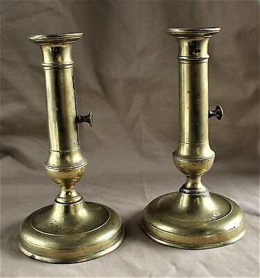 Pair of French Baluster Column Candlesticks with Pushup Ejectors c. 1835