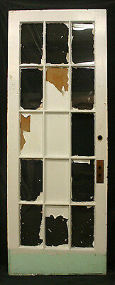 "32""x82"" Antique Interior Wood French Wooden Door 15 Windows Wavy Glass Lite Pane"