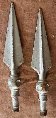 "13"" Pair Vintage Cast Iron Steel Metal Fence Gate Finial Spike Picket Spear Head"