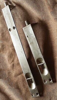 "Pair Cleaned Vintage 6"" 10"" Double Door Flush Cremone Slide Bolt Jamb Lock Plate"