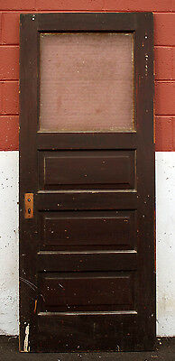 "32""x79"" Antique Wood Wooden Exterior Side Back Entry Door Textured Glass Window"