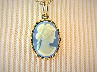 Avon Cameo Choker Pendant Necklace Light Blue Delicate Signed Costume Jewelry