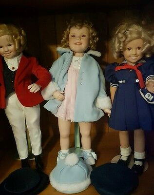 Shirley Temple dolls x 3...beautiful condition with stands