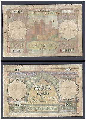Morocco 100 Francs 1950 in (VG) Condition Banknote P-45