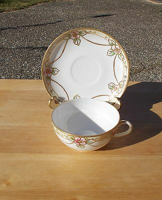Vintage ~ Nippon Cup and Saucer, Raised Gold-tone Floral Design ~ Hand painted