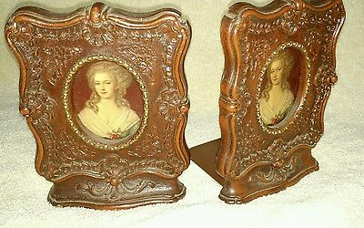"Vintage 6.5""X 5"" Brown Decorative Carved Wood Bookends w/Portraits Victorian"