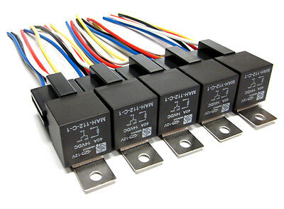 5 Pair 12 Volt Premium Spdt Relays & Sockets Car Alarm 40 Amp 40A 12V Automotive