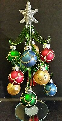 """Glass Christmas Tree with Ornaments 8"""" by Ganz EX29343"""