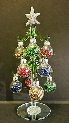 """Glass Christmas Tree with Glitter Filled Ornaments 8"""" by Ganz EX29343"""