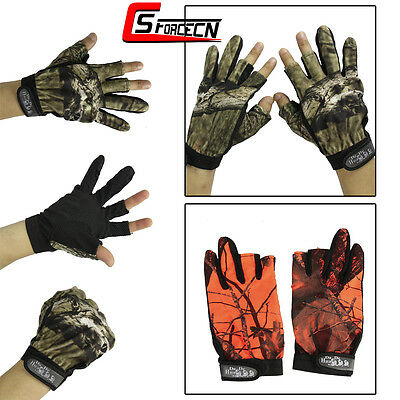 1 Pair Outdoor 3 Cut Fingers Anti-slip Gloves Fishing Hunting Glove Camouflage