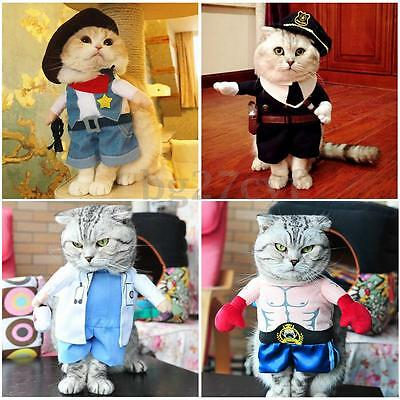 Pet Dog Cat Costume Apparel Clothes Coat Suit Police Doctor Cowboy Boxer Gift