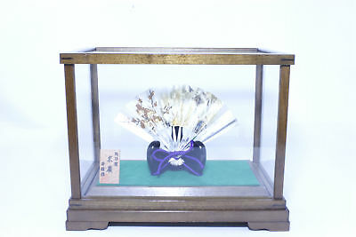 Japanese Antique Sterling Silver Fan with Case Stand Sensu Ohgi 11 Free Shipping