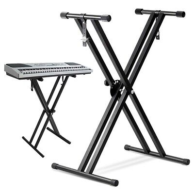 Adjustable X Keyboard Double Stand Music Piano Heavy Duty Stool Stand Folding AU