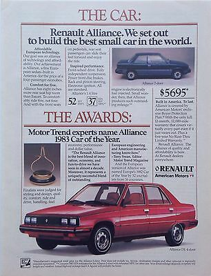Vintage 1983 RENAULT ALLIANCE Best small car in  world ORIGINAL PRINT AD