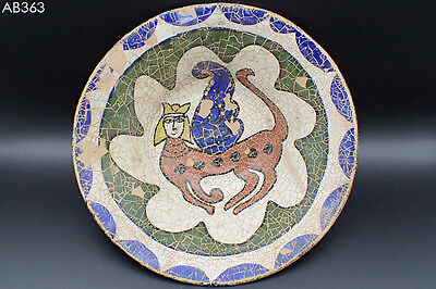 Ancient Islamic Griffon Sphinx Image Ceramic Decorated Plate Bowl #363