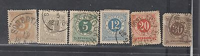 """£1.49 Start - An old group of six """"SWEDEN"""" issues (1872)."""