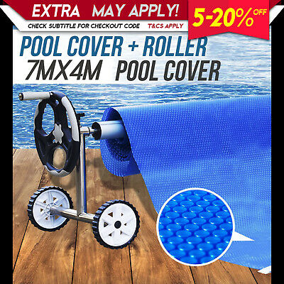 NEW SWIMMING POOL COVER 7m x 4m & ROLLER Solar Bubble Blanket Reel Wheels