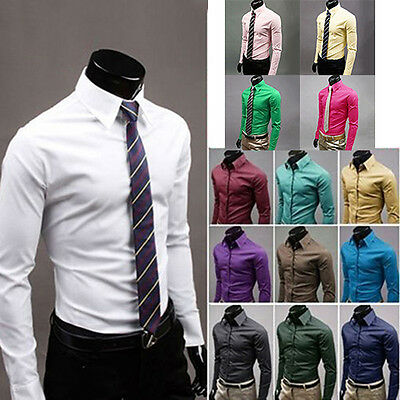 Men's Fashion Casual Solid Candy Color Long Sleeve Slim Fit Dress Shirt Top Gift