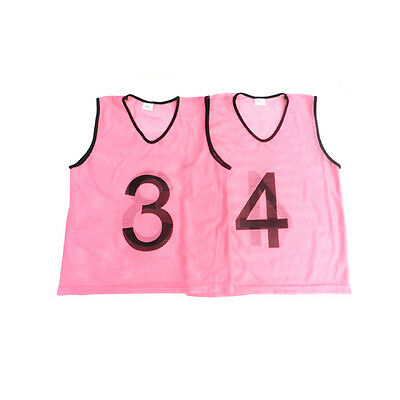 Senior Set of 15 Numbered Sports Training Bibs Pink