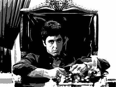 Quadro moderno Scarface dipinto a mano su tela già intelaiata pop art cinema