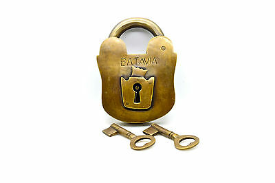 Vintage antique large brass padlock with keys. Fully working