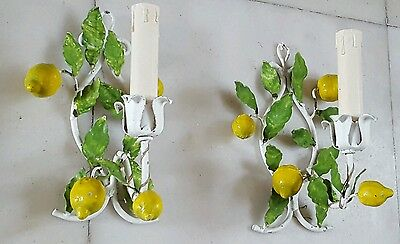 Pair Vintage Italian Shabby Chic Lemons and Leaves Tole Wall Sconces